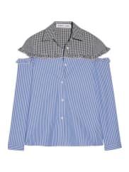 Sandy LiangMercury Hemd Mit Cut-outs Aus Baumwolle Mit Streifen Und Gingham-karo - Blau