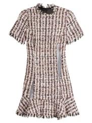 Sandy LiangTweed-Kleid mit Mesh-Einsätzen