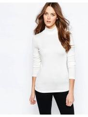 SelectedMelissa - Top à col roulé - Blanc - Blanc