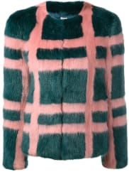 ShrimpsGustav faux-fur plaid coat, Womens, Size: 10, Pink/Purple