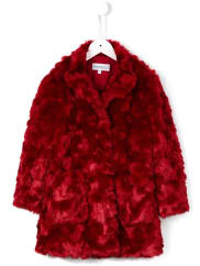 Simonettatextured faux fur coat, Girls, Size: 6 yrs, Red