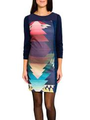 smashCanigo Pichi Estampado-A1661329, Vestido para Mujer, Azul Marino, L