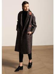 Tara JarmonManteau en chevron tweed rose