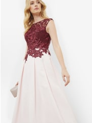 Ted BakerApplique lace bodice dress Oxblood