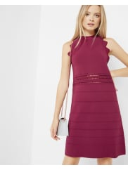 Ted BakerScallop detail ribbed dress Oxblood