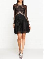 Three FloorCarola Long Sleeve Mesh Dress - Black, Size 8