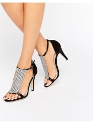 True DecadenceJewel Barely There Heeled Sandals - Black satin