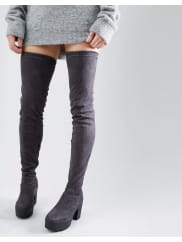 TruffleTruffle Thigh High Chunky boot - Charcoal micro