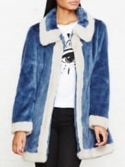 Unreal FurCandy Blossom Contrast Edge Fauf Fur Coat - Blue, Size Xl