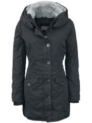 Urban ClassicsLadies Garment Washed Long Parka Girl-Winter-Jacke schwarz