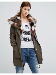 Urban CodeParka With Patchwork Faux Fur Hood