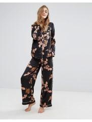 Vero ModaPantaloni lunghi del pigiama scuri a fiori - Nero