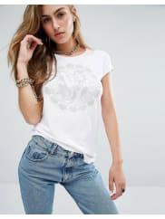 VersaceJeans - T-shirt avec logo tête dépingle - Blanc