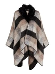 VeryV By Very Faux Fur Trim Collar Boucle Blanket Check Cape