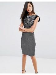 VesperPencil Dress With Floral Print Top - Black/silver