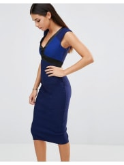 VesperPencil Dress With Satin Detail - Cobalt