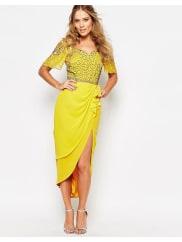 Virgos LoungeLaila Embellished Midi Dress With Thigh Split - Light yellow/multi