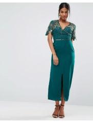 Virgos LoungeWrap Front Embellished Midi Dress - Green