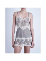 WacoalEmbrace Lace Stretch-Lace Chemise, Womens, Size: Medium, Frost Pink/Grey