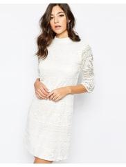 WarehouseHigh Neck Flute Sleeve Dress