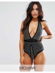 Wolf & WhistleStudded Plunge Suit - Black