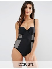 Wolf & WhistleTummy Control Bustier Swimsuit B/C - E/F Cup - Black