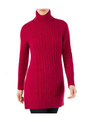 WoolOversWomens Lambswool Cable Polo Neck Dress XL Burgundy Wine