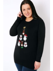 Yours ClothingBlack & Multi Sequin Christmas Character Pyramid Jumper