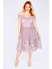 Yours ClothingCHI CHI LONDON Mink Off The Shoulder Embroidered Party Dress