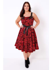 Yours ClothingHELL BUNNY Red & Black Tattoo Flocked Print 50s Style Dress