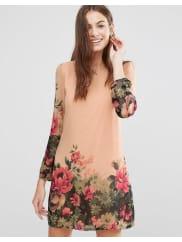 YumiFloral Border Tunic Dress - Cream
