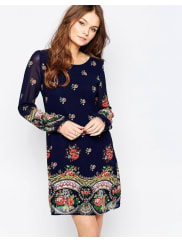 YumiLong Sleeve Shift Dress - Navy