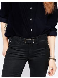 AsosFine Oblong Clean Waist And Hip Belt - Black