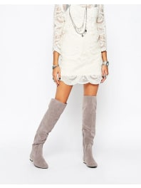 Daisy StreetGrey Flat Over The Knee Boots - Grey