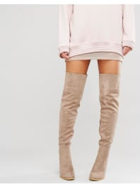 Daisy StreetTaupe Heeled Over The Knee Boots - Taupe