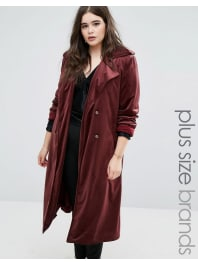 ElviTrench-coat en velours - Rouge