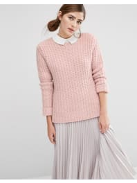 Fashion UnionOversized Jumper In Chunky Knit - Pink