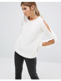 Fashion UnionCold Shoulder Knitted Jumper In Rib - Cream