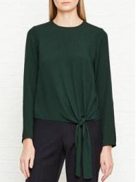 JigsawSatin Back Crepe Tie Top - Bottle Green, Size 6