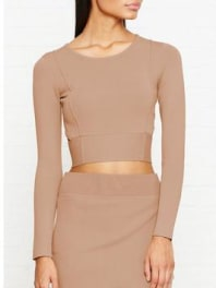 Kendall + KylieCompact Cropped Long Sleeve Top - Macaroon, Size M