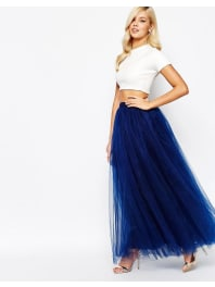 Little MistressGonna lunga in tulle - Blu navy