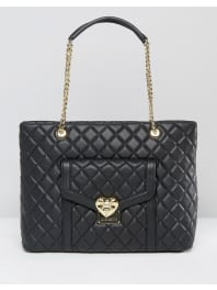 Love MoschinoQuilted Chain Strap Shoulder Bag - Black