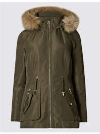 Marks and Spencer IrelandPETITE Faux Fur Parka khaki