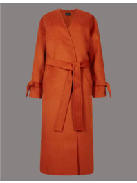 Marks and Spencer IrelandWool Blend Spilt Robe Coat conker
