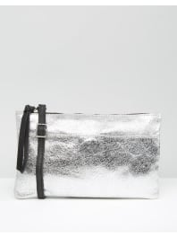 New LookLeather Cross body Bag - Silver