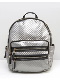 New LookMetallic Quilted Backpack - Silver