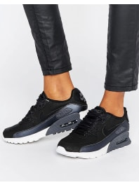 NikeAir Max 90 Ultra Se Trainers In Black And Pewter - Ite-mtlc pewter-dust