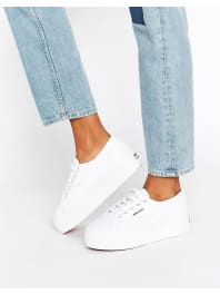SupergaClassic Platform Trainers In White - White