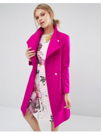 Ted BakerAurore - Manteau long à col enveloppant - Rose - Rose
