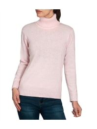 WoolOversWomens Lambswool Polo Neck Jumper XL Pale Pink